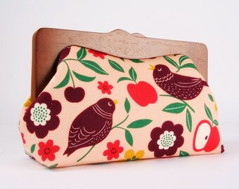 Clutch purse with wooden frame - Spring birds on pink - Cosmetic purse / Nature floral / birds leaves flowers apples / red eggplant green