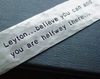"""Graduation Gift, """"Believe You Can And You Are Halfway There"""" Bookmark,Personalized Name,Hand Stamped,College Gift,Encouragement,Roosevelt"""