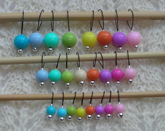 Knitting Stitch Markers - 24 summer knitting markers - snag free - acrylic 6 8 and 10mm beads - set of 24 in three loop sizes