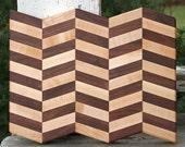 Herringbone Cutting Board maple and black walnut hardwood with FREE wood conditioner geometric pattern