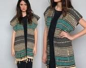 away we go -- vIntage 70's Mexican woven long vest size S/M/L