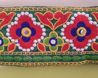 Kutch Handmade traditional multi colour floral Green thread Borders Trims Lace