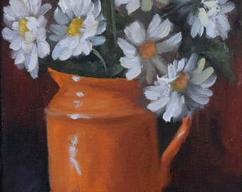 Small Still Life Oil Painting - Orange Pitcher With White Daisies - Original Oil Painting by Cheri Wollenberg