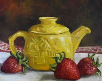 Red And Yellow Still Life Painting,Tea Pot And Strawberries,Kitchen Canvas Original Oil Painting by Cheri Wollenberg