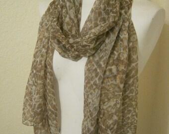 Vintage sheer silk coppery glimmer scarf, glimmery scarf wrap, lightweight sheer shoulder scarf