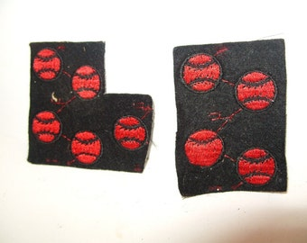 Vintage Letterman School Jacket Sports Patches Black & Red Baseball