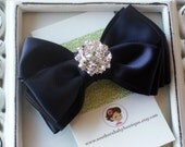 INVENTORY BLOWOUT SALE----Boutique Triple Layered Satin Hair Bow Clip with Rhinestones-----Dark Navy----