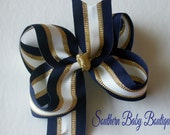 NEW----Big Boutique Hair Bow Clip------Big Navy Gold and White Stripes