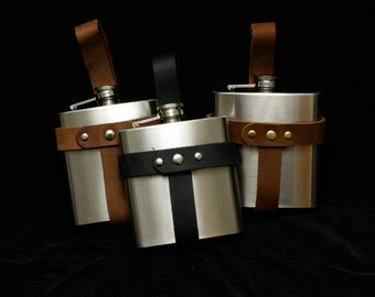 Brown Leather Flask Holster with Stainless 6 oz flask (or not) wear on belt SCA, LARP, Festival, Faire, Burning man, groomsmen gift