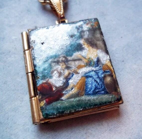 Vintage Enamel on Guilloche Locket Necklace with Pastoral Scene