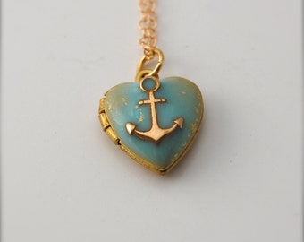 Anchor Heart Locket Jewelry Anchors Nautical Wedding Layering Necklaces Tiny Locket Jewelry Small Gold Filled Turquoise Enamel Delicate