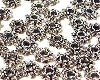 Antiqued Pewter Daisy Spacer Beads for Jewelry Supply 100 per pack, 5mm #20001