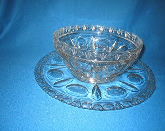 Antique Gorgeous EAPG Large Serving Bowl with Tray