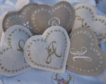 Custom Monogramed Lavender Sachet/ Hand Embroidered / Wedding Favor