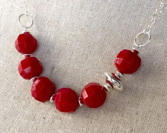 Glorious Vintage Red and Sterling Silver Necklace