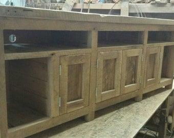 Custom Rustic Barn Wood Entertainment Center, Cabinet, or Vanity FREE SHIPPING -RBWECCV1350F