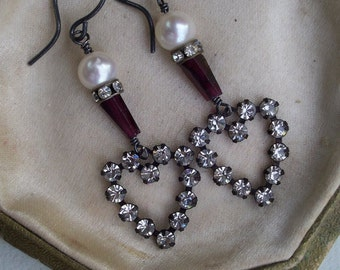 Be Mine - Vintage Assemblage Crystal Heart Earrings