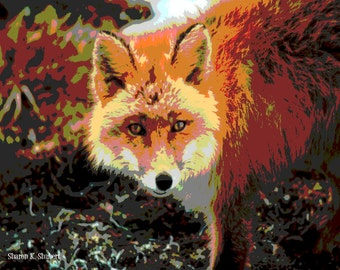 Red Fox Art, Southwestern Woodland, Native American Totem Animal, Abstract Realism, Home Decor, Wildlife Wall Hanging, Giclee Print, 8 x 10