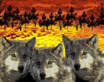 Wolf Art, Native American Totem Animal, Digital Southwestern, Woodland Yellow Orange Black, Wall Hanging, Home Decor, Giclee Print