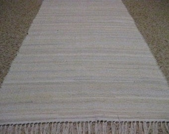 Handwoven Shades of White Rag Rug 25 x 50