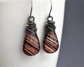 Brown Drop Earrings Sterling Silver Wire Wrap Glitter Quartz Stone Dangle Bohemian Jewelry Modern