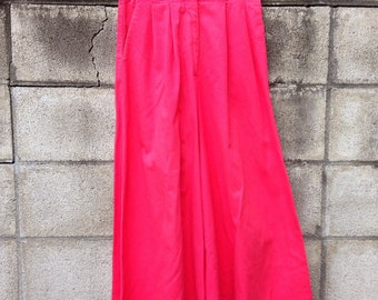 High Waisted Pants Palazzo Vintage 1980s Red Cotton Pants
