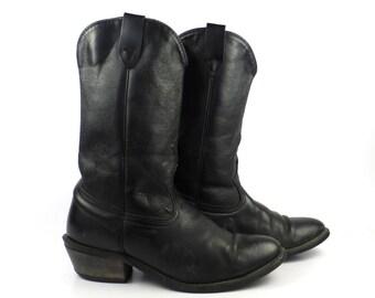 Black Cowboy Boots Vintage 1980s Leather men's size 9 D