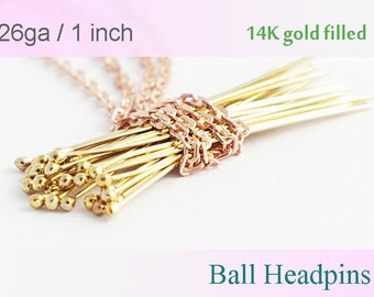 14K Gold filled Ball Headpins 1 inch 50pcs 100pcs- 26 gauge GF ball end head pins, made in USA wholesale Jewelry Supply(1202)