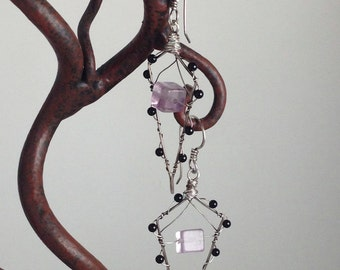 Silver Onyx and Violet Fuorite Earrings