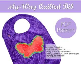 Baby Bib Pattern PDF Instant Download Custom Quilted Bib Pattern Baby Bib Toddler Bib