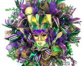 Made to Order Deco Mesh Mardi Gras Wreath -Fat Tuesday Wreath -Jester Mask Wreath