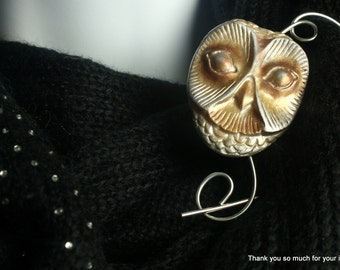 Large Owl Polymer Clay Shawl Pin, Scarf Pin, Brooch - Pearlized Owl Face
