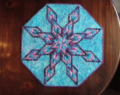 Hand Made Quilted Table Topper in Teal and Purple - Split Diamond Dazzler