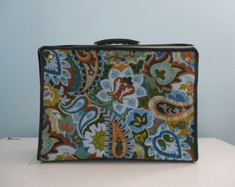 VINTAGE 1960s soft sided collapsible blue green FLORAL SUITCASE