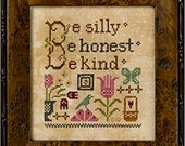 Lizzie Kate Flora McSample Snippet S117 - Be Silly - Counted Cross Stitch Chart, Pattern with Charm