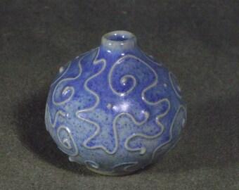 Blue ceramic vase, OOAK