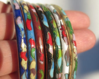 Cloisonné Bangle Bracelets Vintage Set 7 Multi Colored Floral Asian Jewelry Brass Enamel