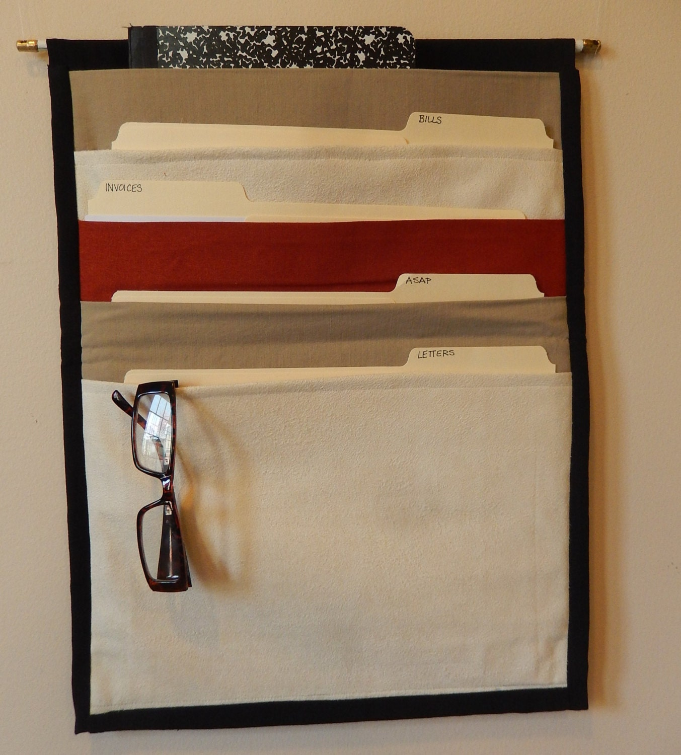 hanging magazine rack and file caddy for office bathroom or. Black Bedroom Furniture Sets. Home Design Ideas