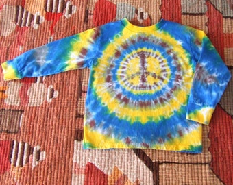 Youth 5/6 Long Sleeve Tie Dye Shirt - Peace Sign - Ready to ship