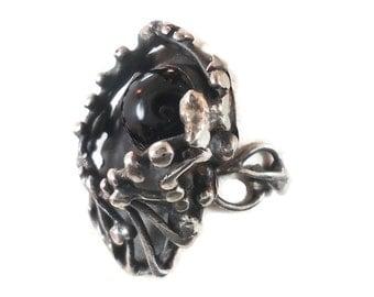 Black Onyx Ring, Brutalist Ring, Sterling Silver, Vintage Ring, Vintage Jewelry, Statement Ring, Boho, Modernist, Organic, Size 7