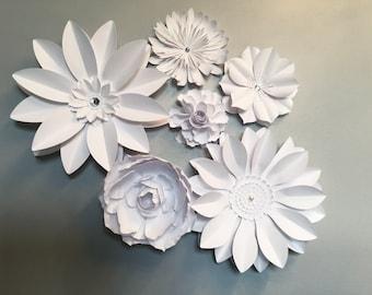 Large White Paper flowers - Flower back drop - wedding flowers set of 6
