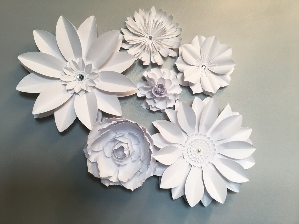 Large White Paper flowers Flower back drop wedding flowers