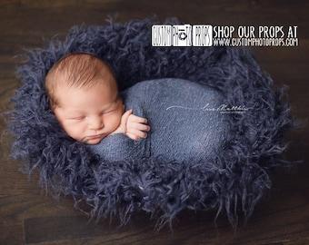 Faux Flokati Fur LaRgE Ink Dark Blue Long Sheep, Newborn Photography Props, Newborn Photo Props, Baby Photo Props, Backdrop, Floor, Boy Prop