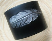SALE Black Cuff Bracelet, Silver Feather Design, Polymer Clay Jewelry by theshagbag on Etsy