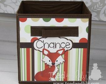 Cute Fox Forest Animal Woodland Critter Friends Fabric Bin Kid's Bedroom Baby Nursery Organizer for Toys or Clothing FB0040