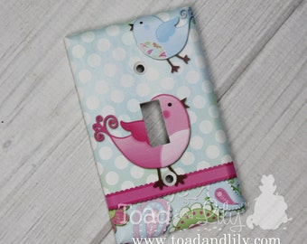 Pink and Blue Paisley Birdie Girls Bedroom Single Light Switch Cover