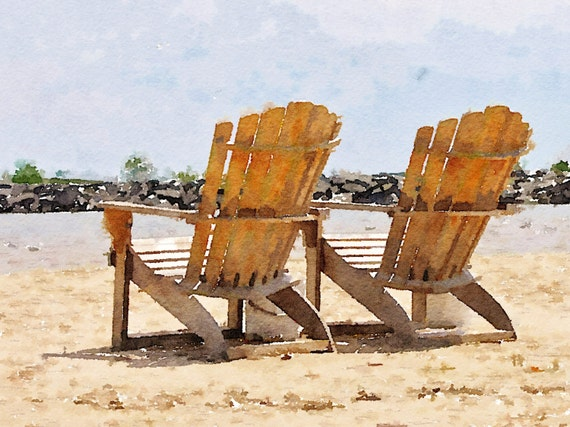 adirondack chairs on the shores of lake michigan digitally altered