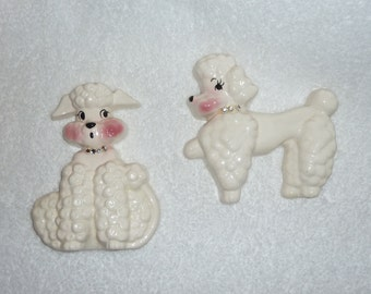 Vintage 1950s Poodle Dogs DeForest of California Ceramic Wall Plaque Puppy White Pink Figurine Retro Kitsch CUTE