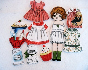 Fabric paper doll child travel toy church toy Angie