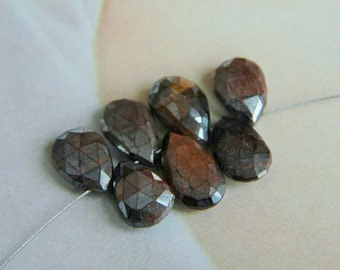 Mystic Red Tiger Eye Faceted Pear Briolettes (7)